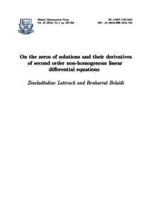 On the zeros of solutions and their derivatives of second